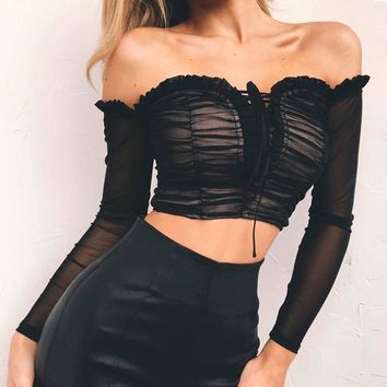 Nadafair sexy mesh off shoulder crop shirts women criss cross lace-up wrap ruched tops autumn long sleeve black white t-shirts