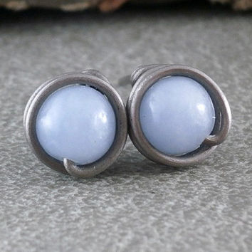 Angelite Studs Non Allergenic Posts Titanium Earrings Wire Wrapped Jewelry Handmade Oxidized Silver 925 Small Blue Earrings Sky Blue Jewelry
