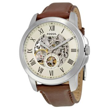 Fossil Grant Automatic Cream Dial Mens Casual Watch ME3052