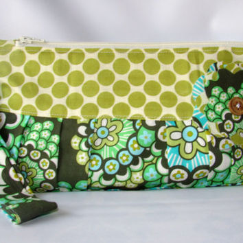 Wristlet Clutch Women Wallet Dandelion Field Forest, Amy Butler Fabric Green Zipper Purse, Mother's Day Gift Idea - Ready to ship
