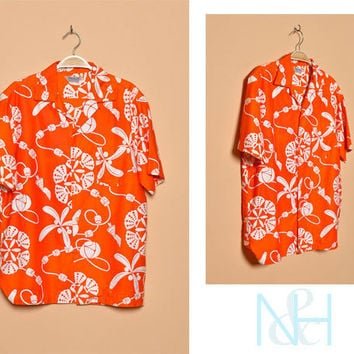 Vintage 1950s Orange Hawaiian Retro Button-Up with Single Chest Pocket