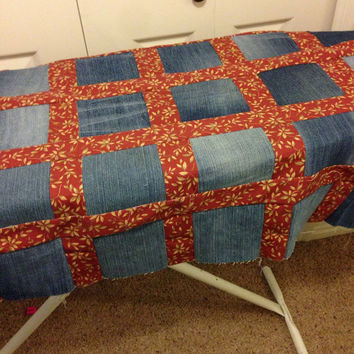 Denim and Home Decor Fabric Queen sized Quilt