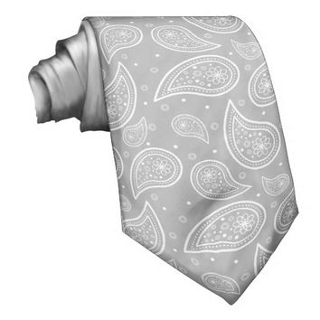 Grey And White Paisley Pattern Ties