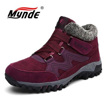 Mynde 2018 New Brand Fashion Suede Leather Women Snow Boots Winter Warm Plush Women's boots  Waterproof Ankle Boots Flat shoes