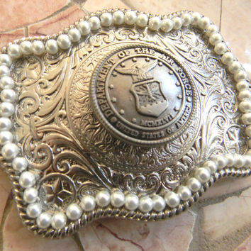 Air Force Silver Concho Belt Buckle, Western Womens Pearl Engraved Military Belt Buckle, USAF Wife Girlfriend , US Air Force, Groomsmen Gift