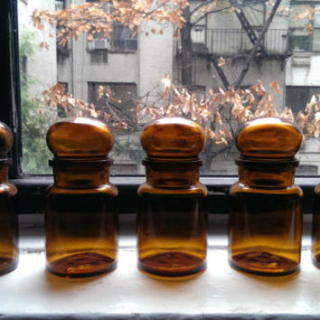 Amber Apothecary Bottles with Bubble Glass Tops, Belgium Glass Jars, Vintage Amber Glass, apothecary jar