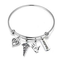 ENSIANTH Physical Therapy Gift Expandable Bangle Bracelet PT Jewelry Thank you Gift for PT