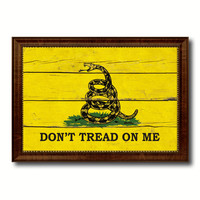 Don't Tread on Me Military Flag Vintage Canvas Print with Brown Picture Frame Gifts Ideas Home Decor Wall Art Decoration