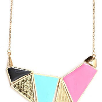 Geometric Panels Bib Necklace Modern Pink Blue Black Enamel Collar NJ48 Art Deco Statement