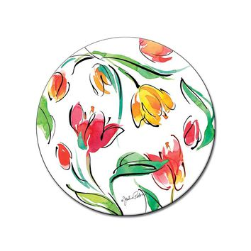 Tulips 13 Inch Glass Lazy Susan