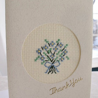 handmade cross stitched thank you card – bouquet of flowers