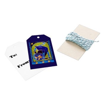 Blue Cat With Goldfish Whimsical Cat Art Gift Tags