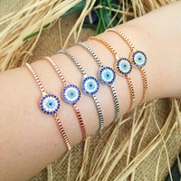 Evil eye bracelet, adjustable bracelet, evil eye charm bracelet