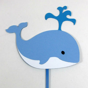Blue whale cupcake toppers baby shower cupcake toppers baby boy cupcake toppers