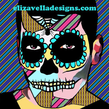 Skeleton guy Sugar skull printable wall art day of the dead abstract digital download graphics zombies macabre home bedroom living room
