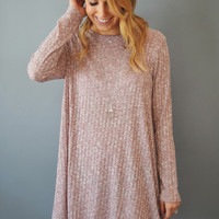 Winter Solstice Rib Knit Dress Mauve