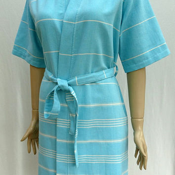 Women's turquoise colour soft cotton short sleeved kimono bathrobe, dressing gown, bridesmaid robe, beach robe, maternity robe.