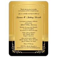 50th Wedding Anniversary Invitation | Black and Gold Floral | PRINTED BOW | PHOTO