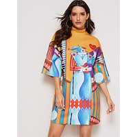 SHEIN Mock Neck Mixed Print Tee Dress