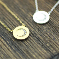 Crescent moon Disc pendant Necklace detailed with CZ in 2 colors , N0224G