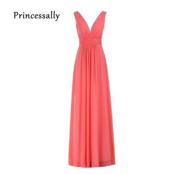 Sexy Bridesmaid Dresses Deep V-necked Ruched Waist  Long Cheap Prom Party Gown Coral Colored Bridesmaid Gown Madrinhas Longos