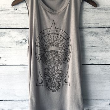 La Luna The Moon, Sun, Yoga Tank Top Shirt