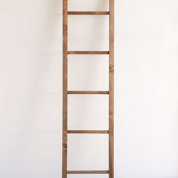 Rustic reclaimed wooden storage blanket ladder