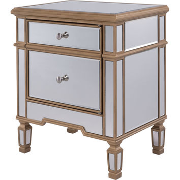 "Contempo 24""x16""x27"" Mirrored Door Cabinet, Gold"