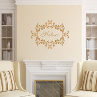 Last Name Wall Decal - Family Name Wall Decal - Floral Frame Decal - Personalized Vinyl Decal 22534