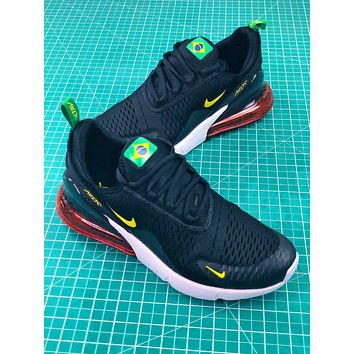 Nike Air Max 270 Fifa World Cup 2018 For Brazil In Black Yellow Sport Running Shoes - Sale