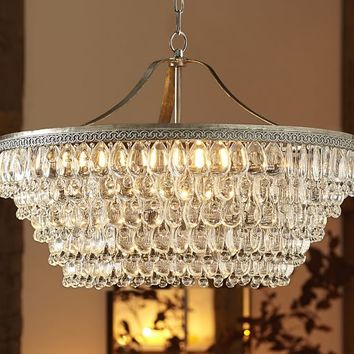 CLARISSA GLASS DROP LARGE ROUND CHANDELIER