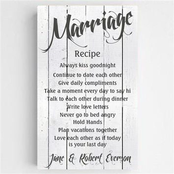Marriage Recipe Canvas Sign Free Personalization