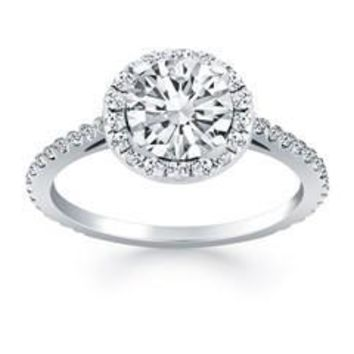 14K WHITE GOLD 1 CT TW DIAMOND HALO CATHEDRAL ENGAGEMENT RING