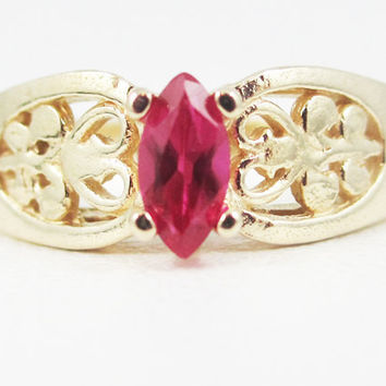 Ruby 14k Yellow Gold Marquis Filigree Ring, July Birthstone Ring, Ruby Marquis Ring, 14k Filigree Ring, Solid 14 Karat Gold Ring