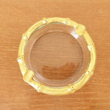 Chic gold bamboo ashtray with glass bottom