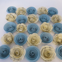 "Light Blue and Sheet Music paper roses, 25 pieces, 1.5"" flowers Table topper decor baby shower, wedding, event decorations, party supplies"