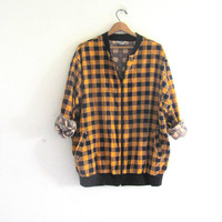 Vintage yellow and black Flannel Jacket / Grunge Shirt / Zipper upshirt coat / buffalo check coat