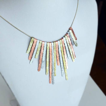 Boho Necklace Copper Necklace Silver Necklace Gold Necklace Mixed Metal Necklace Hand Hammered Copper Hammered Aluminum Bib Fringe Necklace