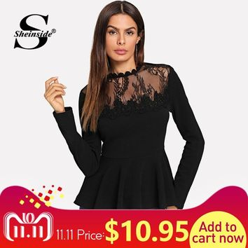 Sheinside Long Sleeve Contrast Lace Peplum Tee Solid Sheer Elegant Office Ladies Work Tops 2018 Women Clothing Autumn T-shirt