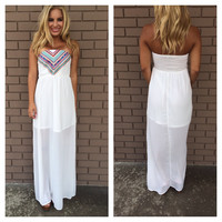 San Andrea's Fault Maxi Dress - WHITE