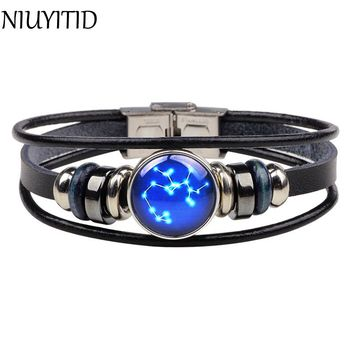 Twelve Constellations Leather Bracelet w/ Glass Buckle