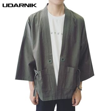 Trendy Men Japanese Yukata Coat Kimono Outwear Jacket 3/4 Sleeve Cotton Linen Vintage Loose Top New Fashion 4 Colors Solid 904-828 AT_94_13