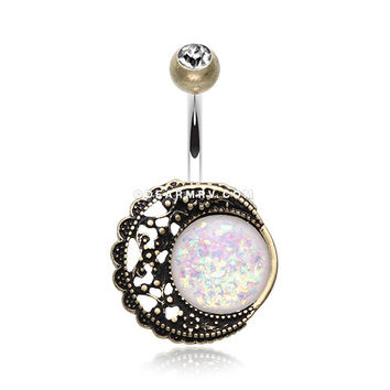 Vintage Boho Filigree Moon Opal Belly Button Ring (Brass/Clear/White)
