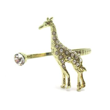 3D Giraffe Wrapped Around Your Wrist Bangle Cuff Bracelet in Gold