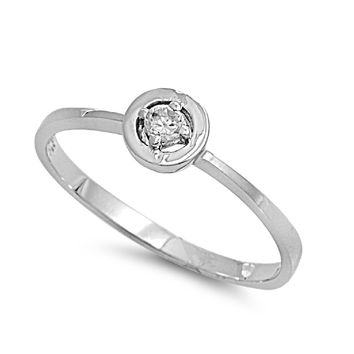 925 Sterling Silver CZ Protection Against The Evil Eye Ring 6MM