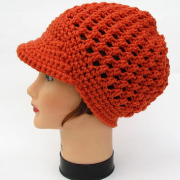 Women's Crochet Cap - Mango Newsboy Hat - Puff Stitch Beanie With Brim - Sun Visor Hat - Fashion Headwear - Crochet Accessories