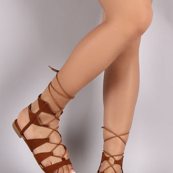 Bamboo Lace Up Ankle Gladiator Flat Sandals