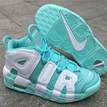 Mens And Girls Nike Air More Uptempo Island Green 415082-300 - Beauty Ticks