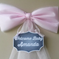 Pink Baby Shower Bow, Hospital Door Decoration, Personalized Baby Name , Baby Shower Bow, Birth Announcement, Baby Shower Decoration,
