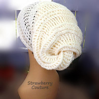 Ivory Crochet Hat Ivory Womens Hat, Womens Slouch Beanie, Crochet Slouchy Beanie Hat, Ivory Hat, HAPPY SNAIL Ivory Beanie
